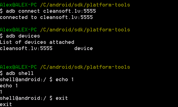 Adb connect to Android device over Internet shell commands